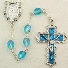 March Birthstone Rosary (Aqua) - Rhodium Plated