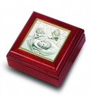 Salerni Sterling Silver & Mahogany Baby Keepsake Box for Boy