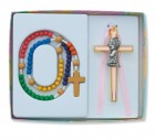 Kneeling Girl Cross with Baby Rosary Set