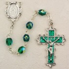 May Birthstone Rosary (Emerald) - Rhodium Plated