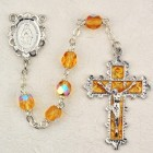 November Birthstone Rosary (Topaz) - Rhodium Plated