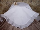 Girls Cotton Embroidered Baptism Blanket with Pintucking, Ruffles, & Embroidery