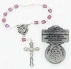 St. Joseph Matching Auto Rosary and Visor Clip Set, Pewter, 7mm glass beads