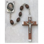Men's Padre Pio Brown Wood Rosary