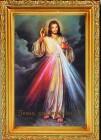 Divine Mercy Antique Gold Framed Print - Spanish Version