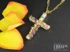 Ghirelli Crystal Aurora Borealis Swarovski Crystal Crucifix Necklace