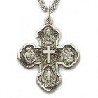 Five Way Cross Pendant 1 inch with Chain