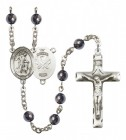 Men's Guardian Angel National Guard Silver Plated Rosary