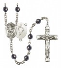 Men's St. Michael Paratrooper Silver Plated Rosary