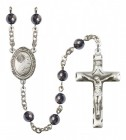 Men's Footprints Cross Silver Plated Rosary