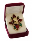 "Poinsettia Christmas Pin, Gold tone with Red & Green Enamel - 2 1/2""H"