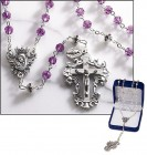Amethyst Diamond-Cut Crystal Italian Rosary
