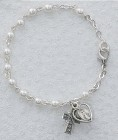Irish First Communion Faux Pearl Bracelet with Miraculous and Celtic Cross Charm