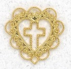 Filigree Heart with Cross Lapel Pin (12 pieces per order)