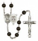 Men's St. Michael Navy Silver Plated Rosary