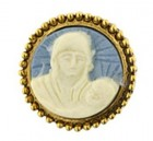 Blue Madonna and Child Round Cameo Tac Pin Gold Tone