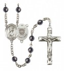 Men's St. Christopher Coast Guard Silver Plated Rosary