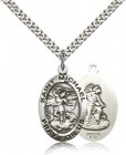 Men's Double Sided Oval St. Michael and Guardian Angel Medal