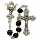 First Communion Black Wood Rosary with Chalice Centerpiece