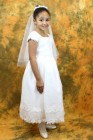First Communion Dress with Satin, Organza and Rhinestone Trimmings