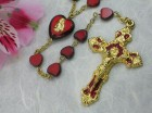 Ghirelli Red Heart Shaped Glass Rosary with Baroque with Enamel Pendant