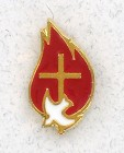 Flame and Dove and Cross Lapel Pin (12 per order)