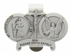 St. Christopher & Guardian Angel Protect My Son Visor Clip Pewter