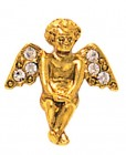 Gold and Crystal Angel Pin