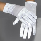 Satin First Communion Gloves with Pearl Cross