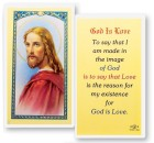 God Is Love Head of Christ Laminated Prayer Cards 25 Pack