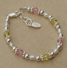 Kami Pearl with Pink and Yellow Crystals Child's Bracelet