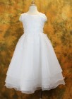First Communion Dress with Embroidered Organza & Pearls