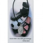 Girl's St. Christopher Soccer Medal with Leather Chain and Prayer Card