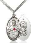 Large Oval Sacred Heart Pendant with Birthstone Options
