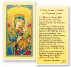 Our Lady of Perpetual Help Laminated Prayer Cards 25 Pack