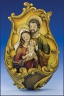 Resin Holy Family Waterfont with Gold Accents