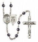 Men's Guardian Angel Navy Silver Plated Rosary