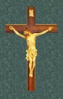 """Solid Wood Crucifix with Hand Painted corpus 20"""""""