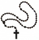Jujube Wood 5 Decade Striped Cut Bead Rosary - 10mm