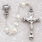 Girl's First Communion Rosary with Crystal Aurora Borealis Beads