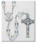 8mm Crystal Swarovski Beads Rosary in Sterling Silver with Round Miraculous Center