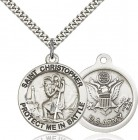 Protect Me In Battle Round St. Christopher Army Necklace