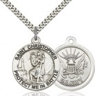 Protect Me In Battle Round St. Christopher Navy Necklace