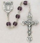Purple Capped Glass Bead Rosary