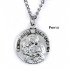 "Round St. Anne Dime Size Medal + 18"" Chain"