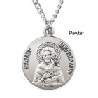"""Round St. Benjamin Dime Size Medal + 18"""" Chain"""