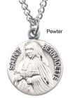 "Round St. Bernadette Dime Size Medal + 18"" Chain"