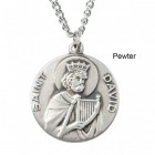"Round St. David Dime Size Medal + 18"" Chain"