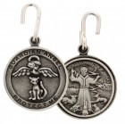 Round St. Francis with Cat Angel Pet Medal