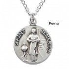 "Round St. Genesius Dime Size Medal + 18"" Chain"